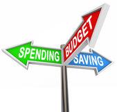 Dépenses épargne budgétaire trois panneaux flèches — Photo
