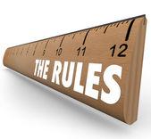 De regels liniaal richtsnoeren verordeningen wetten grenzen — Stockfoto