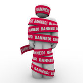 Banned Man Person Wrapped Red Tape Forbidden Suppression — Stock Photo