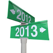 2012 Year Changing to 2013 Green Two-Way Road SIgns — Stock Photo