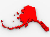 Alaska Red Abstract 3D State Map United States America — Stock Photo