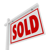 Sold For Sale Home Real Estate Sign Closed Deal — Stock Photo