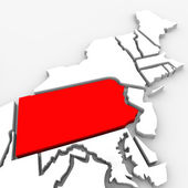 Pennsylvania Red Abstract 3D State Map United States America — Stock Photo