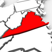 Virginia Red Abstract 3D State Map United States America — Stock Photo