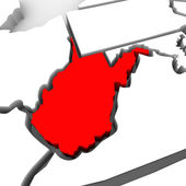 West Virginia Red Abstract 3D State Map United States America — Stock Photo