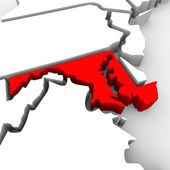 Maryland Red Abstract 3D State Map United States America — Stock Photo