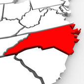 αφηρημένη 3d κράτος της βόρειας καρολίνας κόκκινο χάρτη ηνωμένων πολιτειών αμερικής — Φωτογραφία Αρχείου