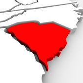 South carolina rossi astratto stato 3d mappa stati uniti america — Foto Stock