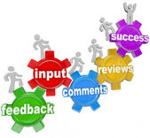 Feedback Marching Up Gears Input to Success — Stock Photo