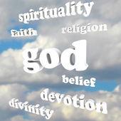 бог духовности слова религия веры божественности преданности — Стоковое фото