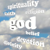 Bůh spiritualita slova náboženství víru božství oddanosti — Stock fotografie