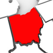 Ohio Red Abstract 3D State Map United States America — Stock Photo