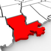 Louisiana Red Abstract 3D State Map United States America — Stock Photo