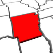 Arkansas Red Abstract 3D State Map United States America — Stock Photo