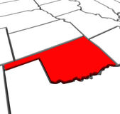 Oklahoma Red Abstract 3D State Map United States America — Stock Photo