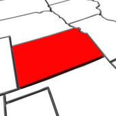 Kansas kırmızı soyut 3d devlet amerika birleşik devletleri amerika haritası — Stok fotoğraf