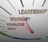 Leadership Speedometer Vision Fearless Bold Direction — Stock Photo