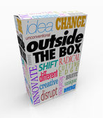 Outside the Box Words on Product Package Innovation — Stok fotoğraf