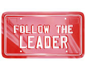 Follow the Leader Red Vanity License Plate Words — Stockfoto