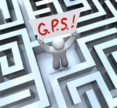 A pessoa de sistema posicionamento global de gps perdido no labirinto — Foto Stock