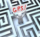 G.P.S. Global Positioning System Person Lost in Maze — Stockfoto