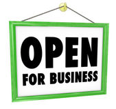 Open for Business Sign Hanging Store Window Door — Стоковое фото