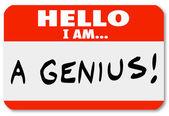 Hallo ben ik een genie naamplaatje deskundige briljante denker — Stockfoto