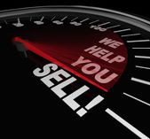 We Help You Sell Speedometer Sales Advice Consultant Service — Stock Photo
