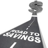 Road to Savings Dollar Sign Save Money Find Discounts Sale — Foto Stock