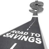 Strada per risparmio segno di dollaro risparmiare denaro trovare sconti vendita — Foto Stock