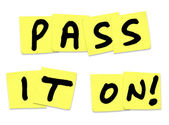 Pass It On Words Yellow Sticky Notes Spread Message News — Stock Photo