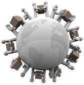 Globaler versand, empfang von sendungen rund um die welt — Stockfoto