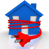 Electrical Cord Strangling House Home Power Energy — Stock Photo
