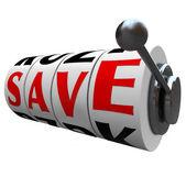Save Word Slot Machine Wheels Saving Money Discount — Stock Photo