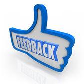 Feedback ordet blå tummen upp positiva kommentarer — Stockfoto