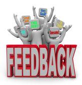 Freuen uns zufriedene kunden, die positives feedback geben — Stockfoto