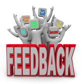 Pleased Satisfied Customers Giving Positive Feedback — Zdjęcie stockowe