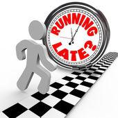 Correr carreras tarde reloj tiempo tardanza lento — Foto de Stock