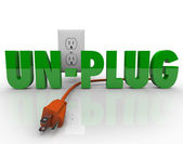 Unplug Cord Electrical Outlet Electricity Power Reduction — Fotografia Stock