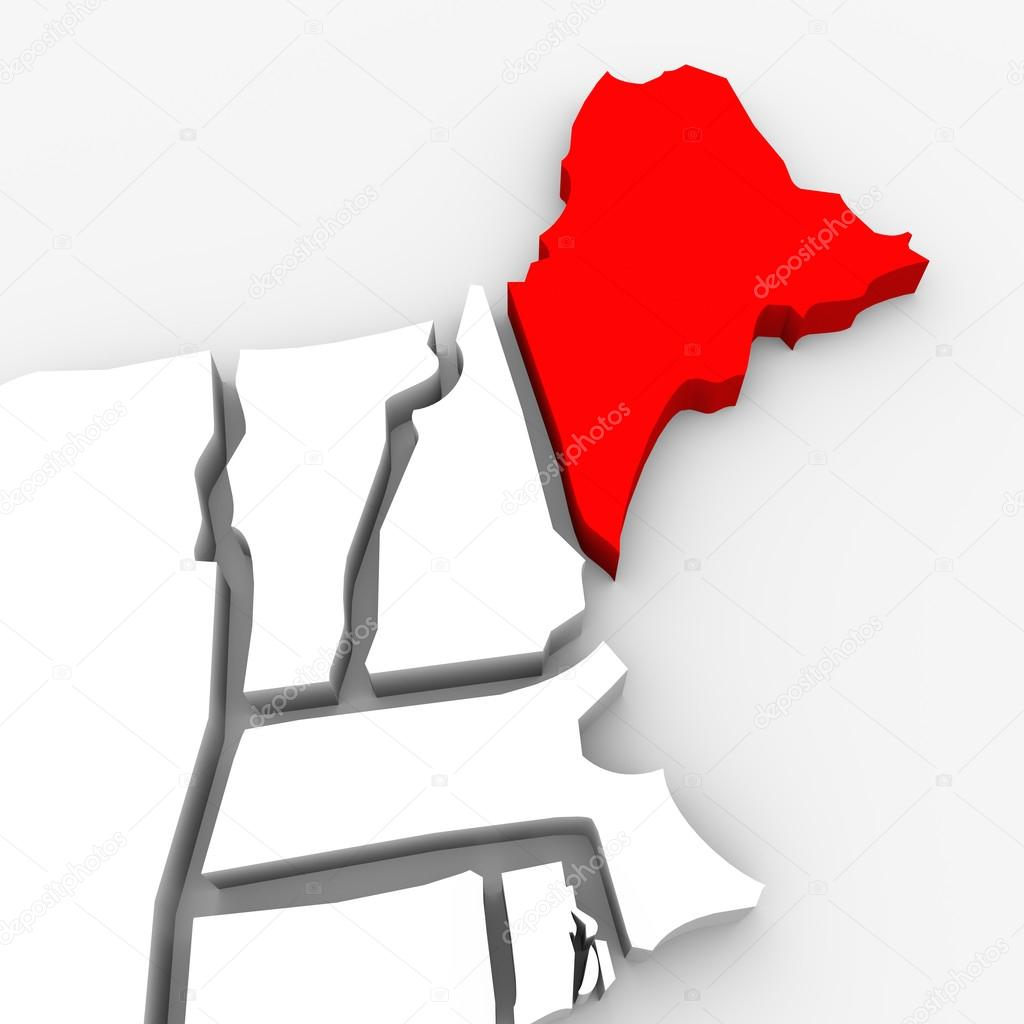 A red abstract state map of Maine, a 3D render symbolizing targeting the state to find its outlines and borders — Stock Photo #14740961