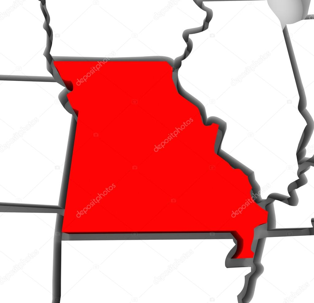 Missouri Red Abstract D State Map United States America  Stock - United states map of missouri