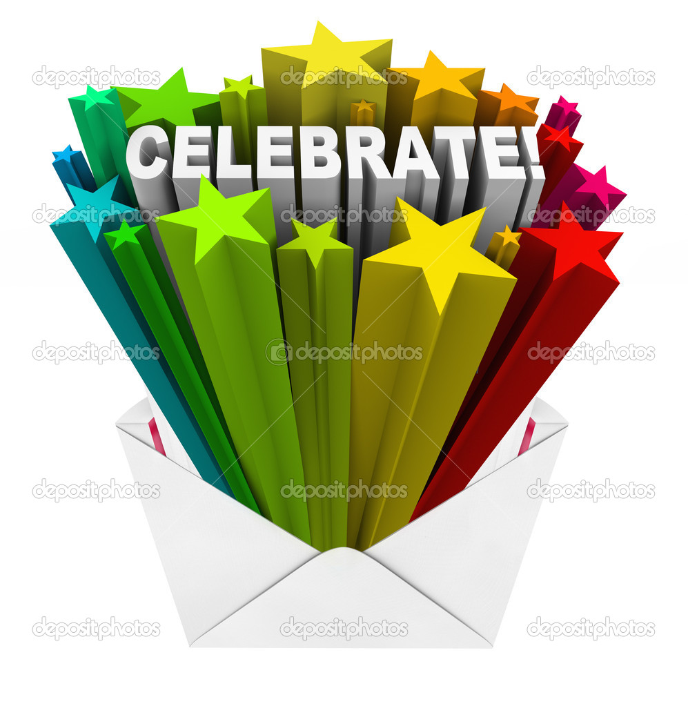 The word Celebrate opening out of an invitation envelope surrounded by colorful stars to symbolize excitement and anticipation for a party or other gathering or special occasion  Foto de Stock   #14741263