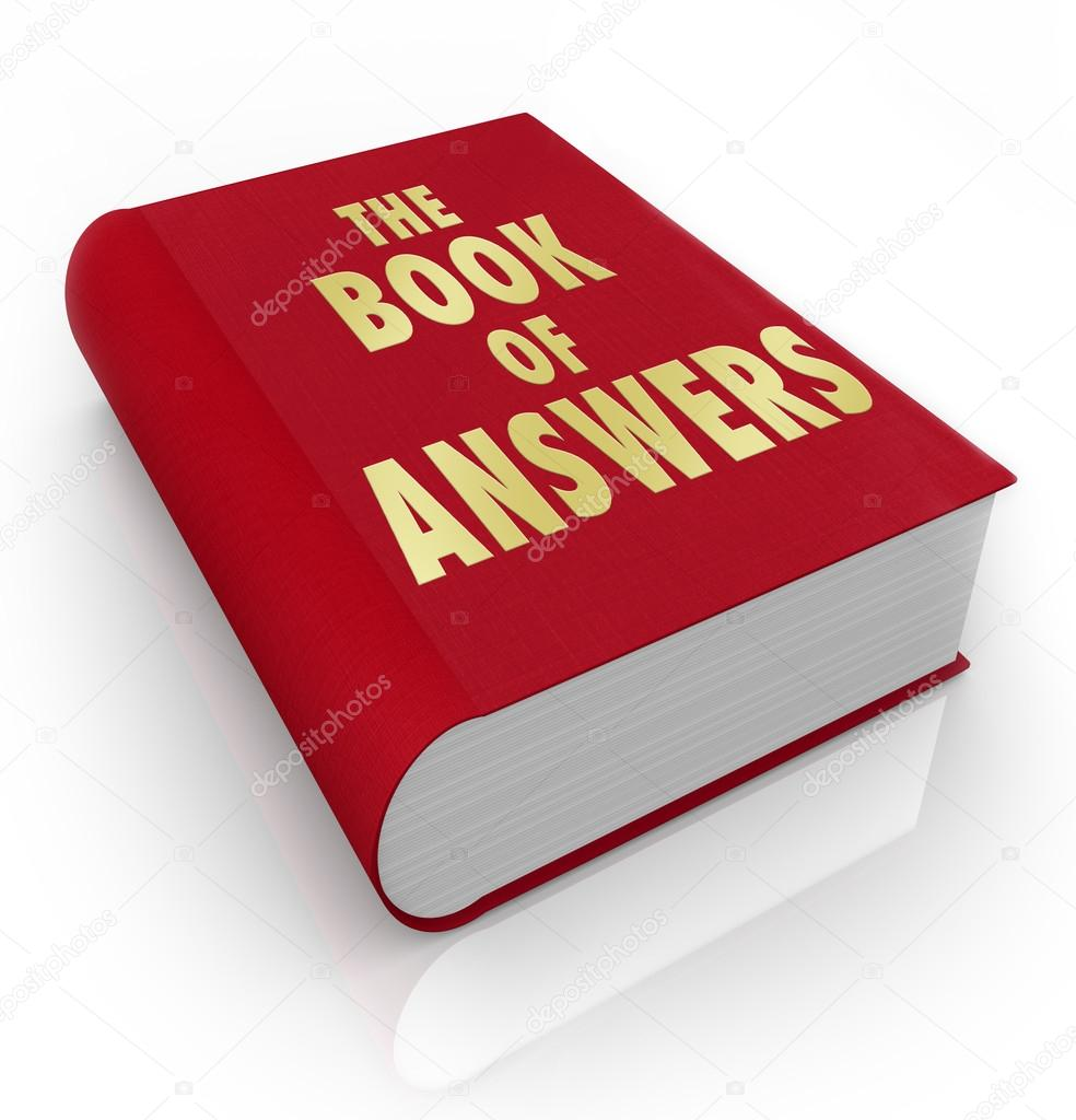 A red book with the words Book of Answers, a manual that gives you advice and shares wisdom to help you succeed in life — Stock Photo #14741281