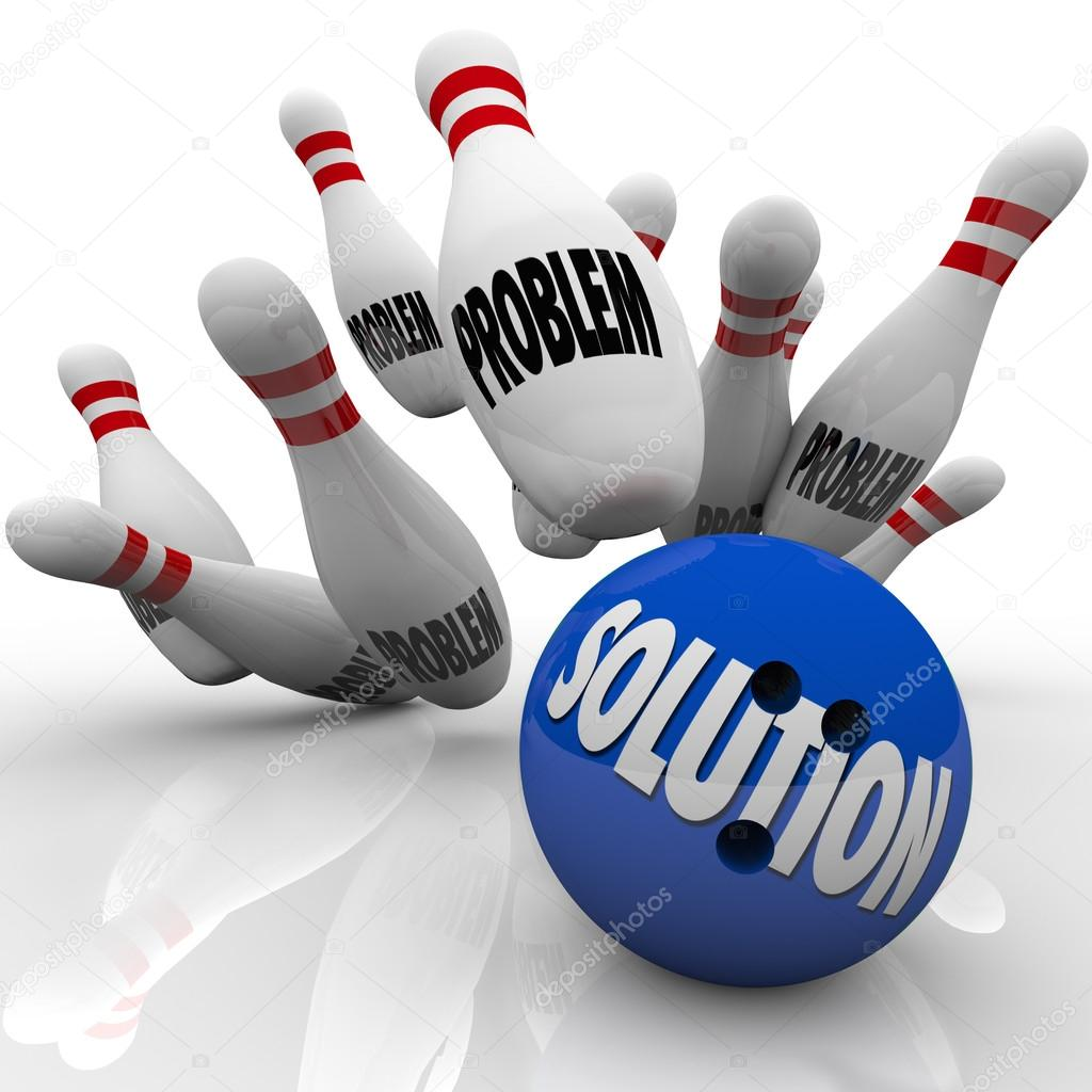 The word Solution on a blue bowling ball hitting pins with the word Problem on them to represent an answer to solve some trouble, issue or challenge and reach a goal — Stock Photo #14741463