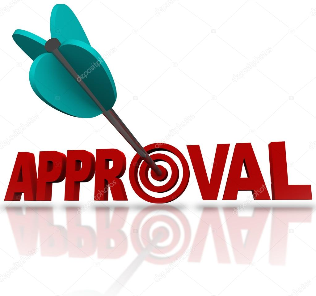 approval word arrow target seeking acceptance good reaction an arrow hitting a bullseye target in the word approval to symbolize seeking to be approved or accepted for a job or admittance to a school