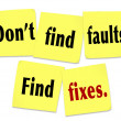 Don't Find Faults Find Fixes Saying Quote Sticky Notes — Stock Photo
