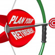 Stock Photo: PlYour Retirement Bow Arrow Target Financial Savings