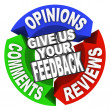 Foto Stock: Give Us Your Feedback Arrow Words Comments Opinions Reviews