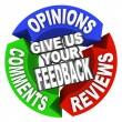 Give Us Your Feedback Arrow Words Comments Opinions Reviews — Стоковая фотография
