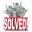 Foto Stock: Solved Cheering Solution Answer PlGoal Achieved